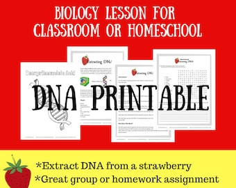 Deoxyribonucleic Acid Printables Extracting Strawberry DNA Science Experiments Activities Instant Download T
