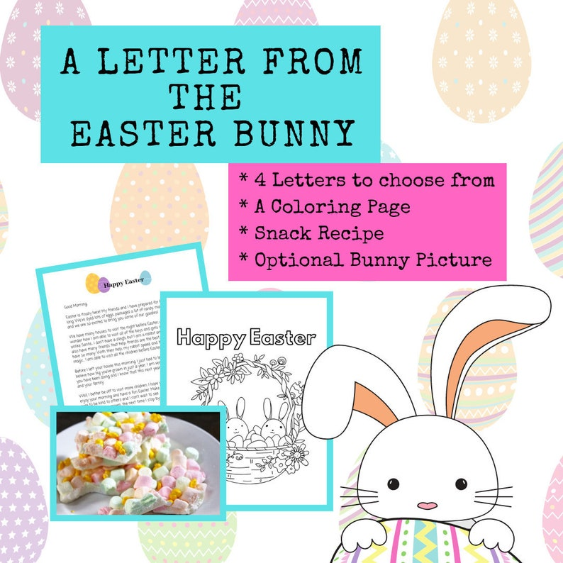image regarding Letter From Easter Bunny Printable named Easter Bunny Letter, Easter Basket Stuffers, Easter Decorations, Fast Down load, Easter Printable