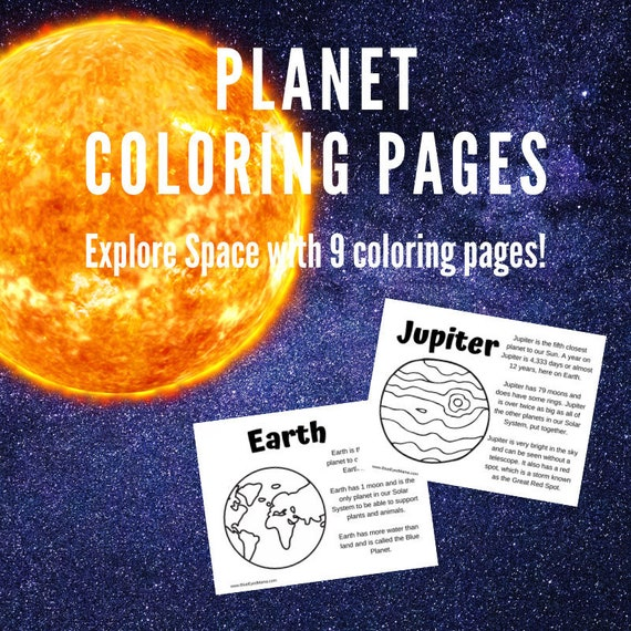 Planet Coloring Pages And Fact Sheets Pluto Included Etsy