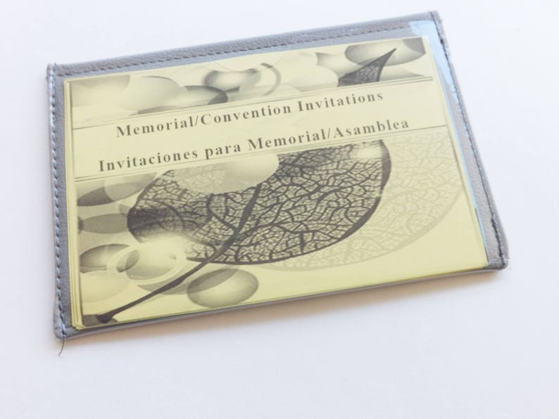 Grey Faux Leather Vinyl JW Ministry ConventionMemorial Invitation Holder Clear Window Pockets on Both Sides Jw Campaign Invitation Holder
