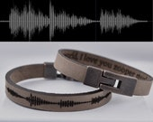FREE SHIPPING-Bracelets For Men,Personalized Bracelet,Sound Wave Bracelet,Stainless Steel,Leather Bracelet,Engraved Bracelet,Men 39 s Bracelet