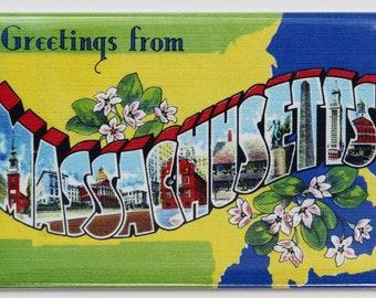 Greetings From Massachusetts Postcard FRIDGE MAGNET Boston