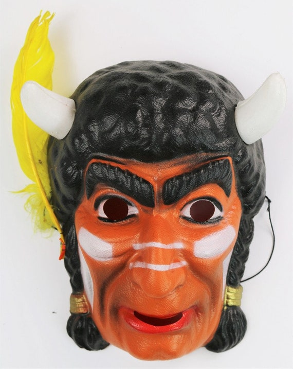 Vintage Indian Chief Halloween Mask Cesar 80s Cost