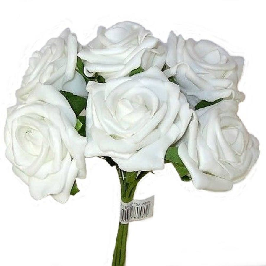 6 White Foam Flower Wired Roses For Wedding Centrepieces