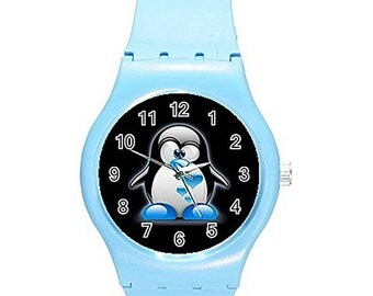 Penguin with Blue Shoes and Hearts on a Girls Blue Plastic Watch watches IP-WW4A-ZPEJShips from HOng Kong- Ships From Hong Kong