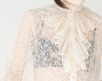Lace Blouse Victorian Style Ruffle See Through High Neck Button Down Poet Sleeve Ivory Cream Vintage 1970's 70's