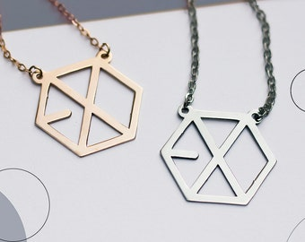 EXO - MAMA album inspired necklace - hexagon- 2 colors available