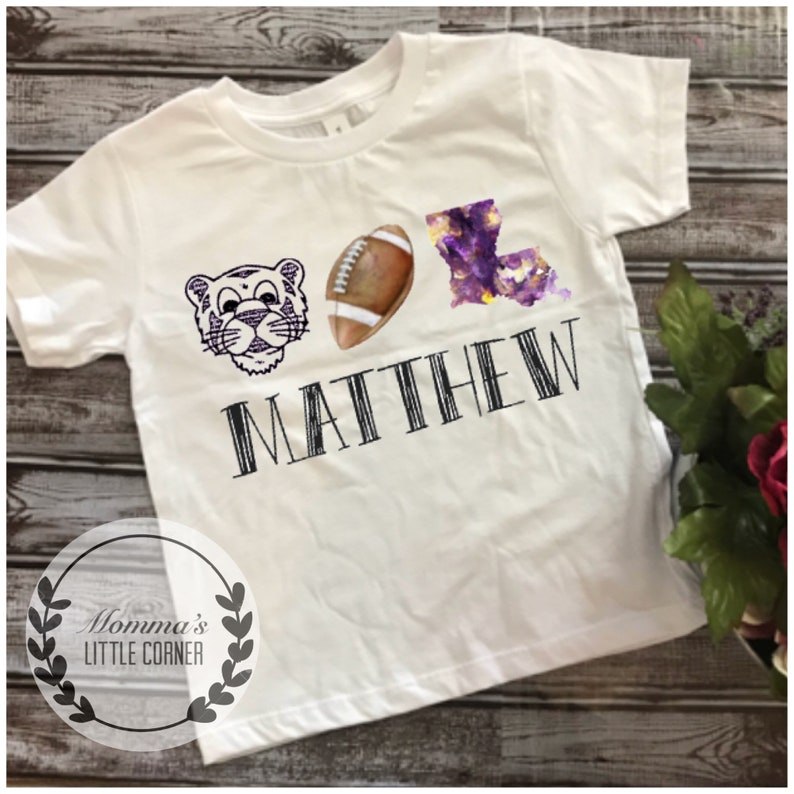 c4dc83b8 Boys lsu shirt watercolor football shirt or onesie personalized shirt  football lsu boy monogram