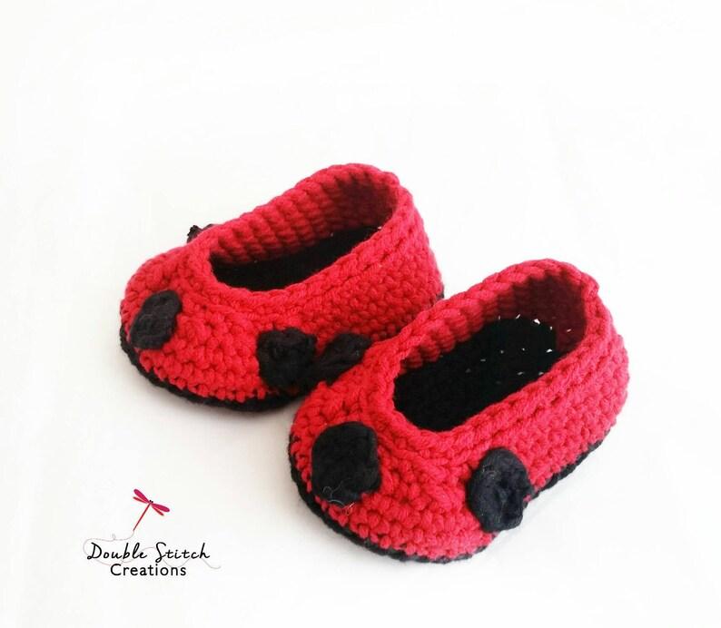 bcfddd2f7 Ladybug Baby Slipper   Crochet Baby Slippers   Ladybug Baby