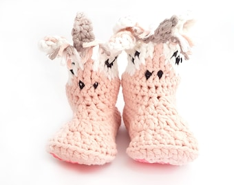 Unicorn Slippers for Children / Unicorn Booties for Toddlers / Pink Grey White Slippers / House Slippers / Crochet Animal Shoes
