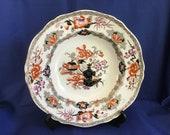 Antique Minton Boyle Plate. Dated 1836 - 41. Pattern No. 4413. Measures 9inches dia. Imari Colours. Scalloped Edge.