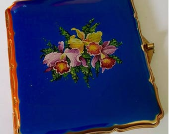 Stratton Cigarette/ Card Case. Gorgeous Blue. Floral Bouquet. Unusual Design.