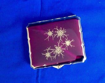 Stratton Cigarette/ Card Case. Purple/Magenta background &. Gold Flower Bursts.