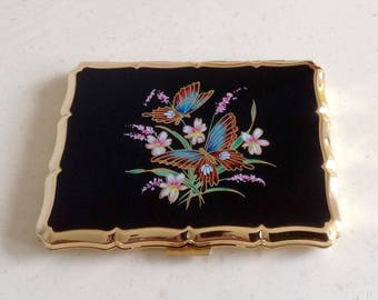 Retro Stratton Cigarette/ Card Case. Featuring Stylish Floral Bouquet Design and Butterflies to front.