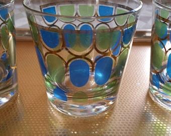 Vintage Drinking Glasses Blue Green Gold Detail Set of 3