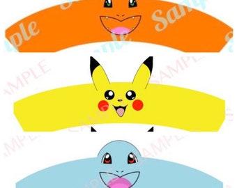 Digital File You Print Pokemon Inspired 6 Design Pikachu Charmander Bulbasaur Dragonite Snorlax Squirtle Cupcake Wrapper Holder