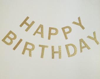 Happy Birthday Two Strand Gold Glitter Banner, Two Strand Happy Birthday Banner, Gold Glitter Banner, Happy Birthday Banner, Birthday Banner
