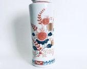 Fine Ceramic Imari Tall Flower Vase Made in Japan Orange Blue White Gold