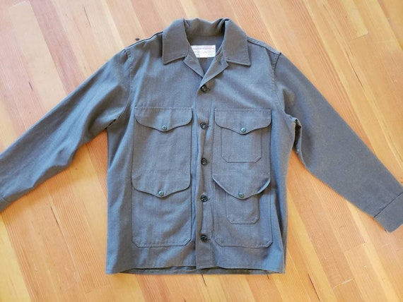 Vintage 1970s Filson Green Military Shirt 100% woo