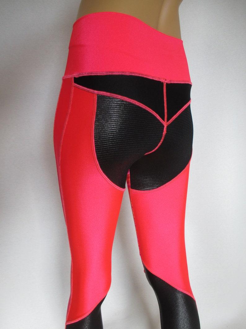 6578ab849e0 Sport leggings yoga pants neon colors contrast seams high low | Etsy
