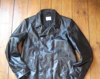 Helmut Lang '97 # black double breasted coat # men size 50-52