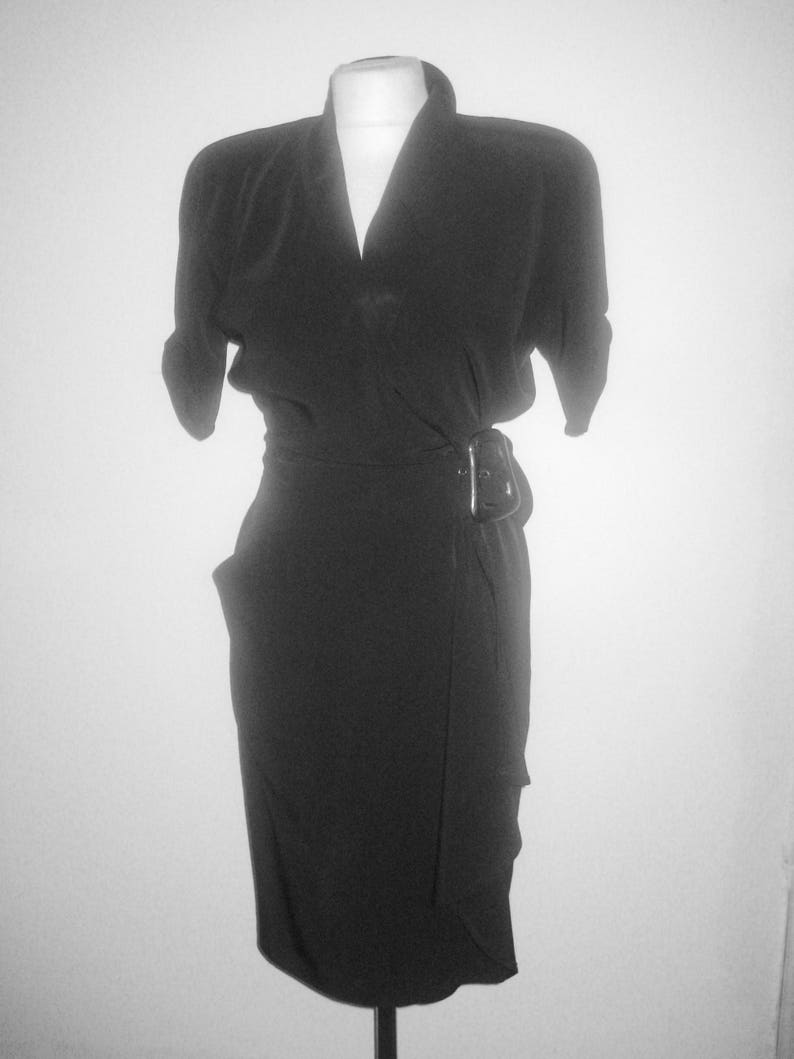 62b8b6a8e1 10 % de réduction Thierry wrap noir Mugler Paris robe | Etsy