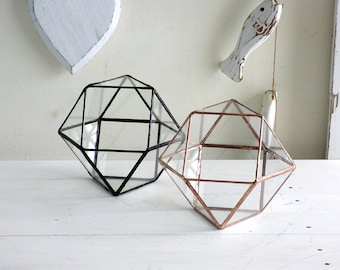 Geometric Terrarium,  Cuboctahedron, A Handmade Stained Glass Terrarium, Use As a Planter, Wedding Ring Box or a Jewelry Box