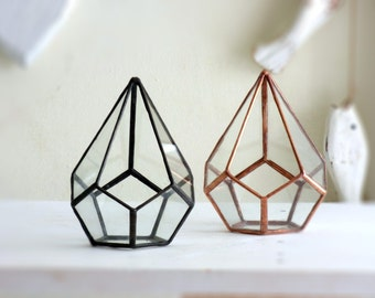 Geometric Terrarium, A Teardrop Shaped Glass Terrarium, Use As a Planter, Ring Box or Jewelry Box
