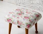 Newly UpholsteredRetro Cath Kidston Floral Fabric Foot Stool Deep Button Country