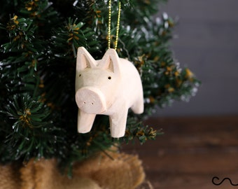 Handmade Natural Wooden Pig Hanging Ornament With Gold String Home Decor