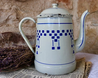 Original French Vintage, white with blue check design enamel coffee pot and lid. Cafetiere.  French Shabby Chic.
