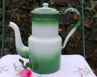 Unusual 1930's green two tone enamel coffee pot. Cafetiere. French Vintage Shabby Chic. French Country Kitchen