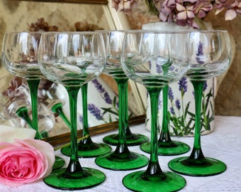 Set of 8x  tall, green stem French Vintage Alsace wine glasses. French Vintage Cafe Bar Chic