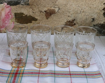 1950's French Vintage White Frosted Tumblers French Vintage Shabby Chic