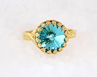 Blue Ring Aquamarine Ring Swarovski ring Crystal Gold Ring Adjustable Ring Gold Ring for women