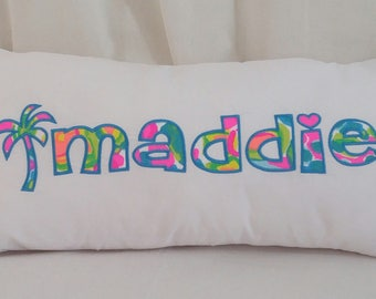 Lilly Pulitzer Personlized Appliqued Pillow