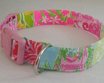 Monogrammed Lilly Pulitzer Variety Dog Collar and Leash