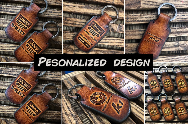 Jeep Grand Cherokee leather keychain Embossed jeep grand cherokee logo