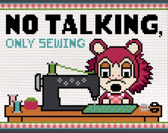 NO TALKING, Only Sewing - Sable Animal Crossing Able Sisters - Digital cross stitch pattern, sewing machine craft room instant download