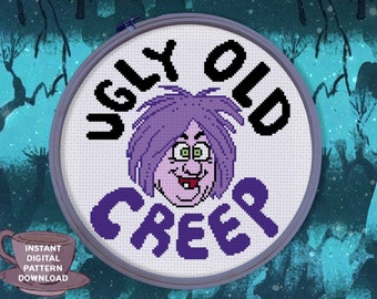 UGLY old CREEP Mad Madam Mim Sword in the Stone Vintage Cartoon cross stitch art pattern includes DMC suggested colors - Wizards & Witches