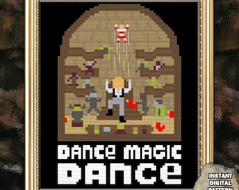 Dance Magic Dance cross stitch pattern inspired by movie Labyrinth, Jareth's Labyrinth 5 x 6 inches you remind me of the babe Goblin King