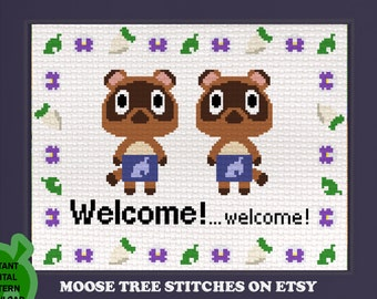 Timmy and Tommy Welcome! ...welcome! - Digital cross stitch pattern, instant download JPEG with color & Symbol chart animal crossing Nook
