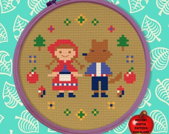 """Mom's Embroidery """"Fairy Tale"""" Animal Crossing New Horizons - Digital cross stitch pattern, instant download JPEG with color & Symbol chart"""