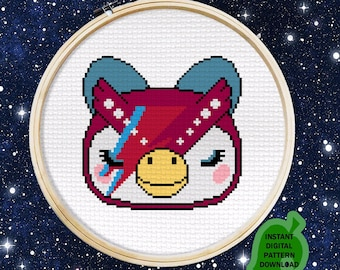 Bowie Inspired Celeste Animal Crossing Owl  - Digital cross stitch pattern, instant download JPEG with color & Symbol chart
