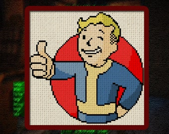 Vault Boy Digital Cross Stitch Pattern 6 x 6 inches instant download logo video game pop culture thumbs up DIY