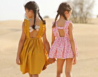Amba Top & Dress pdf sewing pattern sewing patterns for toddlers girls summer dress girls spring dress open back dress vintage ruffle dress