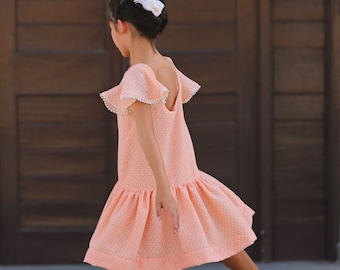 RAYA Dress pdf sewing pattern sewing patterns for toddlers girls summer spring open back drop waist dress ruffle neck butterfly sleeves