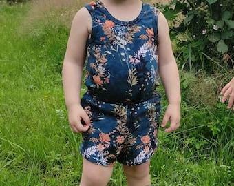 Lya Jumpsuit & Dress pdf sewing pattern toddlers girls summer dress short jumpsuit jersey rompers sunsuits open back playsuits elastic waist