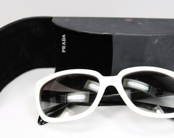 54a9219f3fa6 Vintage PRADA Sunglasses with Original PRADA Glasses Case Black   White