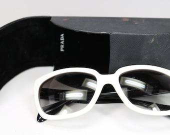 9c34948c60689 Vintage PRADA Sunglasses with Original PRADA Glasses Case Black   White